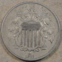 1868 SHIELD NICKEL EXTRA FINE -AU MINOR RIM BUMP REV. @ 1:00