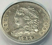 1833 CAPPED BUST HALF DIME GRADED BY ANACS EXTRA FINE -40 DETAILS CLEANED