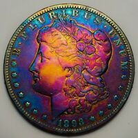 1893 O MORGAN SILVER DOLLAR MONSTER RAINBOW TONING, KEY DATE  409