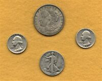 US MINT 90 SILVER COINS 1-1921-D MORGAN DOLLAR 1-WALKER HALF 2-SILVER QUARTERS