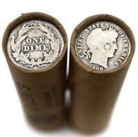 90  SILVER BARBER DIME ON LINCOLN WHEAT PENNY ROLL  PENNIES MIXED DATES PDS