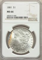 1881 US MORGAN SILVER DOLLAR $1 - NGC MINT STATE 66