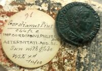 AMAZING PEN & INK OLD ESTATE TAG  GORDIAN III 238 244. AS. ROME. SOL