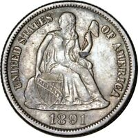 1891-S/S 10C SEATED LIBERTY DIME EXTRA FINE   K7827