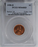 1950-D LINCOLN CENT PCGS MINT STATE 66RD