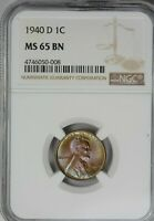 1940-D LINCOLN WHEAT 1C CENT NGC MINT STATE 65BN BEAUTIFUL RAINBOW TONING