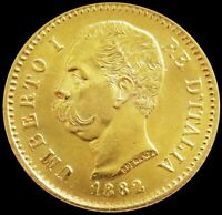 1882 R GOLD ITALY 20 LIRE 6.45 GRAMS UMBERTO I COIN ROME MIN