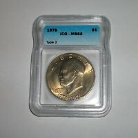 1976 TYPE 2 EISENHOWER DOLLAR ICG MINT STATE 65 FULL GOLD TONE