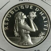 HAITI 1973 SILVER PROOF 50 GOURDES GIRL WITH CONCH SHELL  CROWN