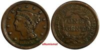 US COPPER 1855 BRAIDED HAIR LARGE CENT 1 C.