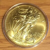 2012 AMERICAN .999  SILVER EAGLE 24 KT GOLD GILDED 1 OZ COIN