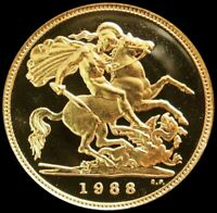 1988 GOLD GREAT BRITAIN 1/2 SOVEREIGN COIN GEM PROOF CONDITI