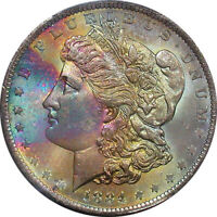 1884 O PCGS MINT STATE 65 TEXTILE RAINBOW COLOR TONED MORGAN SILVER DOLLAR
