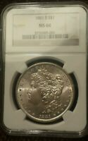 1881 S MORGAN SILVER DOLLAR $1 MINT STATE 66 NGC OH GEM PLUS LUSTER  CHEEK VAM?