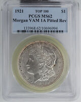 1921 MORGAN DOLLAR, VAM-1A, PITTED REVERSE, TOP 100, PCGS MINT STATE 62