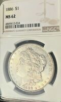 1886-P MORGAN SILVER DOLLAR MINT STATE 62 CERTIFIED BY NGC. BRIGHT WHITE