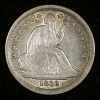 1838 SEATED DIME LARGE STARS
