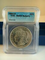 1880-S  MORGAN DOLLAR  ICG GRADED MINT STATE 60  DETAILS CLEANED