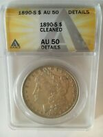 1890-S  MORGAN  DOLLAR ANACS GRADED AU 50 DETAILS CLEANED