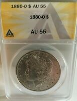 1880-0 MORGAN  DOLLAR ANACS GRADED AU 55