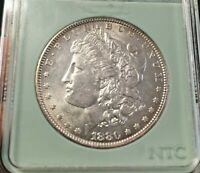 1880-O MICRO O MORGAN SILVER DOLLAR MS BRIGHT WHITE UNCIRCULATED.