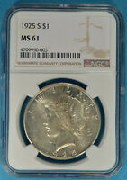 1925-S PEACE DOLLAR NGC MINT STATE 61- LIGHT GOLD TONE,  EXAMPLE