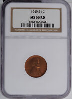1949-S LINCOLN CENT NGC MINT STATE 66RD