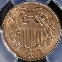 1864 LARGE MOTTO SHIELD TWO CENT 2C - PCGS MINT STATE 64 RED BROWN