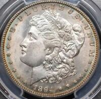 1894 S MORGAN SILVER DOLLAR TONED OBVERSE -MINT STATE 64 PCGS - PL REVERSE