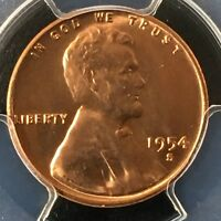 1954-S 1C RD LINCOLN WHEAT ONE CENT  PCGS MINT STATE 66RD                  35758208