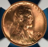 1954-S LINCOLN WHEAT CENT NGC MINT STATE 67RD- EXCEPTIONAL LUSTER, EYE APPEAL