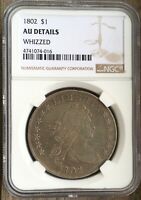 1802 I BUST SILVER DOLLAR NGC AU DETAILS FREE S/H