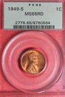 1949 S MINT STATE 66 RED LINCOLN WHEAT CENT PCGS CERTIFIED GRADED GENUINE SLAB OCE 472