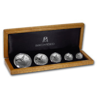 PROOF MEXICAN LIBERTAD SILVER 5 COIN SET MEXICO 2019 IN WOOD