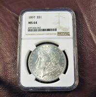 1897 P MORGAN DOLLAR MINT STATE 64 NGC  BETTER