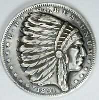1891 MORGAN DOLLAR INDIAN POP OUT PUNCH OUT   PUNCH BEAUTIFUL DESIGN