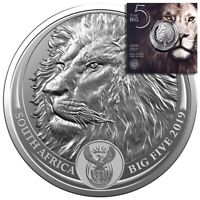 LION BIG FIVE 5 RAND 1 OZ SILVER   SOUTH AFRICA 2019 IN BLIS