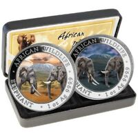 AFRICAN WILDLIFE ELEPHANT DAY NIGHT 2X 1 OZ. SILVER COINS SO