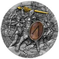 AMAZONS WOMEN WARRIORS 2 OZ HIGH RELIEF   WOOD INLAY SILVER