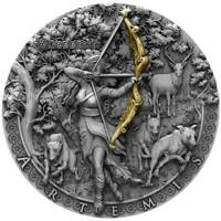 ARTEMIS ITGODDESSES HIGH RELIEF GOLD PLATING 2 OZ SILVER COI