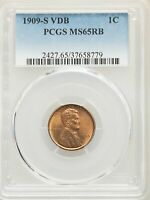 1909-S VDB US LINCOLN WHEAT CENT 1C - PCGS MINT STATE 65 RB