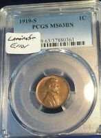 1919 S LINCOLN CENT PCGS MS 63BN WITH LAMINATION ERROR AT RI