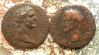 LOT OF 2 AS SIZED COINS BOTH 28MM DOMITIAN 8.8G & AGRIPPA UN