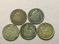 5 SEATED LIBERTY HALF DIME  5  SILVER COIN 1847 1854 1855 18