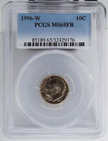 1996 W ROOSEVELT DIME PCGS MS65FB FULL BANDS