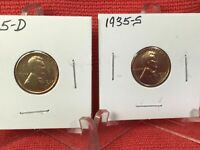 1935-D,35-S,36-S, 37, 37-D & 37-S  LINCOLN CENTS - FREE 1ST CLASS SHIPPING.