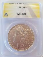 1881-O MORGAN SILVER DOLLAR ANACS CERTIFIED 6110441 MINT STATE 63, FIXED PRICE
