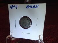 1829 - CAPPED BUST HALF DIME -  GOOD - HOLED - PARTIAL LIBERTY