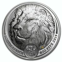 LION BIG FIVE 1OZ FINE SILVER COIN SOUTH AFRICA WITH COA AND
