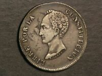 BOLIVIA 1851PTS FM 8 REALES SILVER CROWN VF